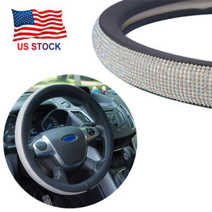 Bling Rhinestone Car Suv Steering Wheel Cover 38cm General Soft For Ladies Girls