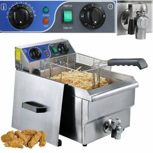 Commercial Restaurant Electric 10l Deep Fryer Stainless Steel W Timer Drain Vp
