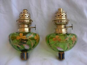 A Pair Of Antique French Enameled Glass Piano Kerozene Lamp Late 19th Century