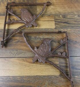 Set Of 2 Vintage Look 8 5 X 8 5 Cast Iron Song Bird Design Shelf Brackets