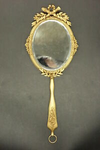Large Hand Mirror Louis Xvi Style Era 19th Bronze French Antique