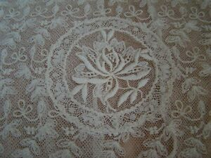 Oval French Normandy Lace Pillow Sham Cover Tambour Valenciennes Rose Embroidery