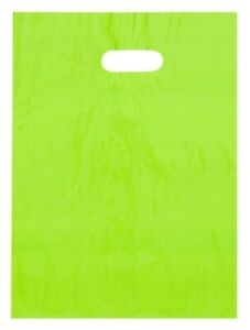 Green Lime Plastic Shopping Bags Low Density Gift Diecut Handles 9x12 Lot 500