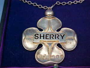 Huge Silver Gilt Four Leaf Clover Sherry Wine Decanter Label Wyard Druitt 1970
