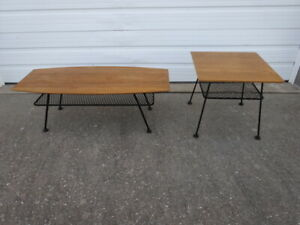 Pair Of Vtg Mid Century Danish Modern Eames Era 1950s Lammerts Coffee Tables Set