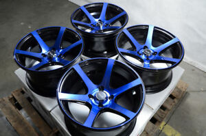 15x8 Wheels Honda Accord Civic Corolla Aveo Fit Accent Black Blue Rims 4 Lugs