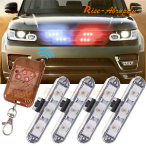 Car 16 Led Red Blue Police Strobe Flash Light Dash Emergency Warning Lamp