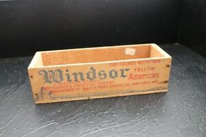 Vintage Wooden Windsor Club Cheese Box Crate 2 Pound