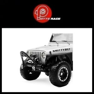 Smittybilt 76521 Src Stubby Black Front Winch Hd Bumper With Stinger