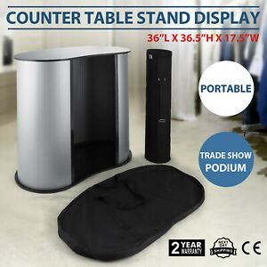 Podium Table Counter Stand Trade Show Display Speech Oval Bean W case Newest