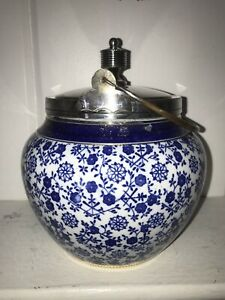 Antique Blue White Porcelain Biscuit Jar Meridian Silver Plate Fittings