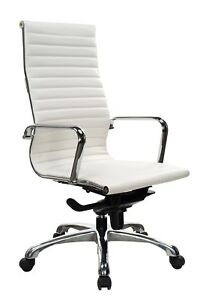 10 Eames White Leather Conference Chairs