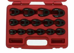 Abn Jumbo Crowfoot Flare Nut Wrench Set Metric 15 Piece Tool Kit