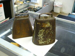 Lot Of 2 Antique Cow Bell Vintage Works