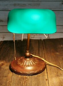 Antique Emeralite 8734a Adjustable Banker S Desk Lamp With Original Glass Shade