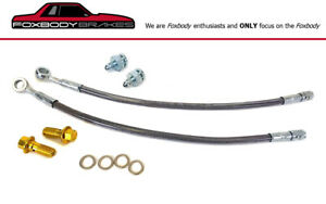 79 93 Fox Mustang Rear Stainless Braided Lines For Cobra Rear Brake Conversion