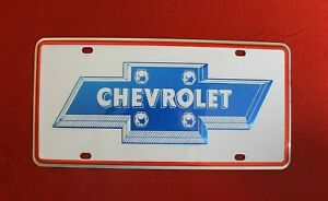 Vintage Chevy Bowtie Small Hole Dealer Front License Plate Topper Accessory Gm