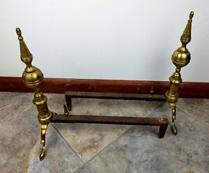 Vtg Ornate Brass Iron Fireplace Log Holders Cray Andirons Inserts Patina Hearth