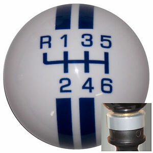 Rally White Blue l 6 Spd Shift Knob With Silver Adapter Kit Fits New Dodge Dart