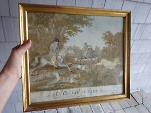 Antique French Silk Embroidery Deer Hunt La Chasse Au Cerf 1823