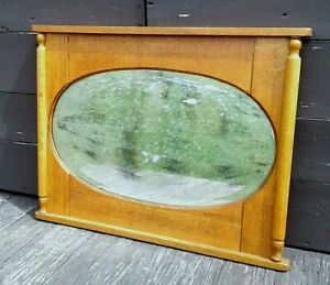 Antique Oak Rectangle Entryway Wall Hall Mirror With Oval Beveled Mirror 1900s