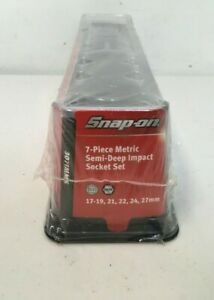 Snap On 7 Piece Metric Semi Deep Impact Socket Set 307imms Brand New