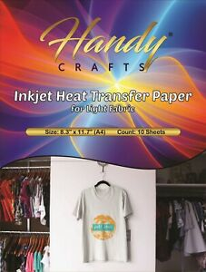 Inkjet Heat Transfer Paper For Light Fabric 8 3 X 11 7 a4 10 Sheets