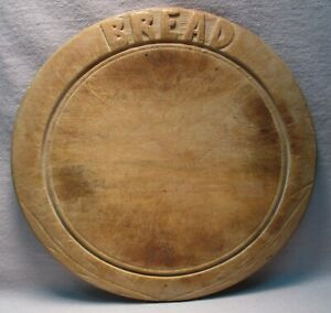Early Primitive Folk Art Hand Carved Round Bread Board