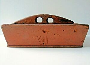 Antique Primitive Canted Side Wooden Knife Box Early 19thc
