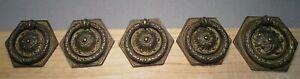 Set 5 Antique American Empire Drawer Pulls Hexagonal Brass Bronze W Pull Ring