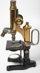 E Leitz Antique Brass Microscope With Handle Leica