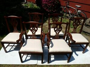 Henkel Harris Vintage Set Of 8 Chippendale Style Mahogany Dining Chairs