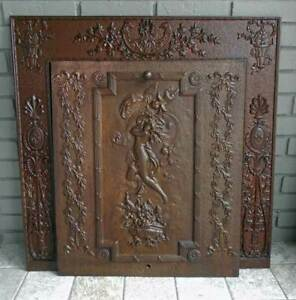 Antique Iron Fireplace Cover Frame Maiden Cherubs Dated 1901