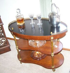 Mid Century Modern Henredon Mahogany Brass Dry Bar With Kidney Shaped Shelves