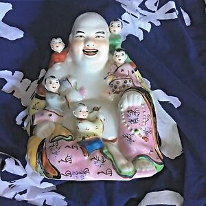 Large Chinese Porcelain Laughing Buddha Children Fertility Rose Famile Statue 9