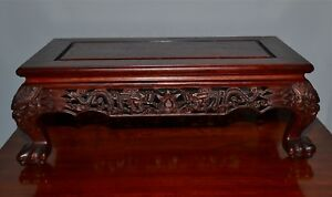 Old Chinese Hardwood Stand Kang Table Carved Dragons