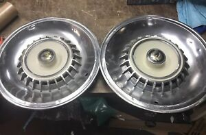 50s Vintage Chrysler Imperial Genuine 15 Hubcaps Set Of 2