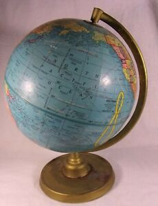 Vintage George Cram Co 9 World Celestial Globe Rotating Perfect Student Desk