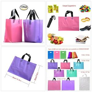 Frosted Plastic Gift Bags Large Retail Clothing Grocery Boutique Shopping 100pcs
