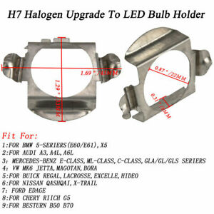2x H7 Led Headlight Adapters Holders For Bmw 5 Audi A3 A4 A6 Benz E Ml C Gl
