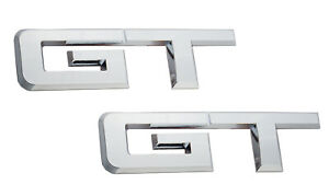 2pcs Chrome Gt Emblems 3d Car Rear Sides Fender Trunk Stickers For Ford Mustang