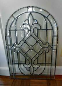 Antique Beveled Leaded Stained Glass Window Arched One Of Pair