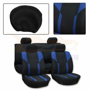 10 Pieces For 2000 2001 2008 Jeep Wrangler Black Blue Mesh Cloth Car Seat Covers