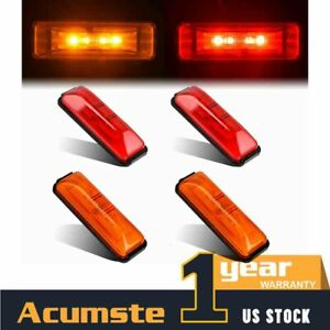 2 Amber 2 Red 4 Led Clearance Side Fender Marker Light Trailer Truck Rv 12v