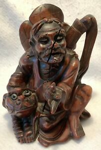 Antique 19th C Hand Carved Solid Wood Chinese Figure Immortal W Foo Dog