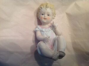 Vintage Bisque Porcelain Piano Baby Figurine Handpainted 7534 German