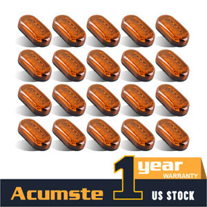 20 Amber 4 X 2 Oval Led Side Marker Light 10diode Surface Mount Top Roof Truck