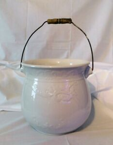 Vintage Antique Iron Stone China Porcelain Chamber Pot W Wood Handle