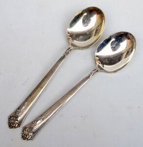 Lot Of 2 Oneida Damask Rose Heirloom Sterling Silver Oval Bowl Soup Spoons 6 3 8