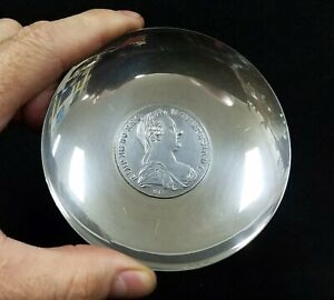 1780 Theresa Thaler Silver Coin Set In Silverplate Bowl